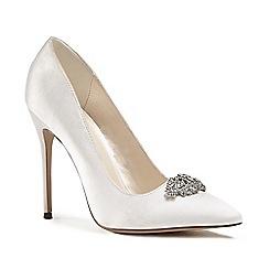 Pink by Paradox London - Ivory satin 'Alandra' high heel stiletto court shoes