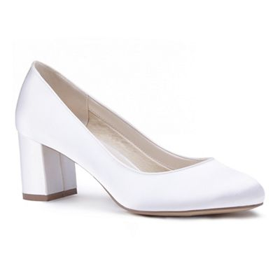 Pink by Paradox London - Ivory satin 'Alvina' mid heel block court shoes