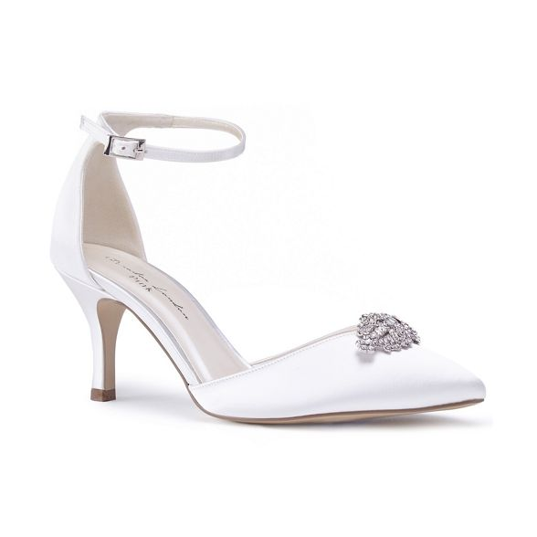 heel by stiletto court mid Paradox Pink satin shoes London 'Alyssa' Ivory Pd0dwq