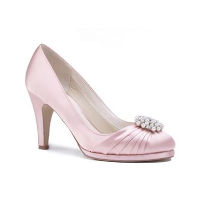 Pink by Paradox London - Pink satin 'Amaia' high heel platform court shoes