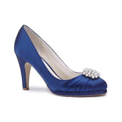 Pink by Paradox London - Blue satin 'Amaia' high heel platform court shoes
