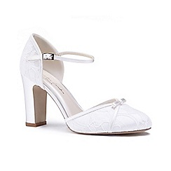 Pink by Paradox London - Ivory lace 'Candia' high heel block heel mary janes