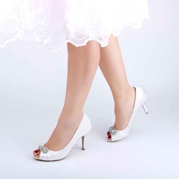 peep shoes London 'Cassiana' stiletto Pink by satin toe heel Paradox high Ivory wqxPzxBAE