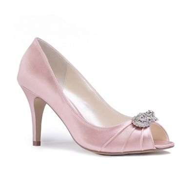 Pink by Paradox London - Pink satin 'Cassiana' high heel stiletto peep toe shoes