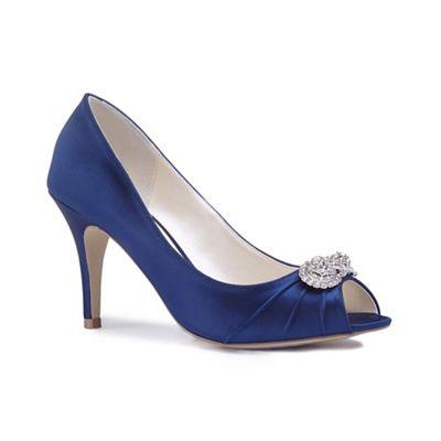 Pink by Paradox London - Blue satin 'Cassiana' high heel stiletto peep toe shoes