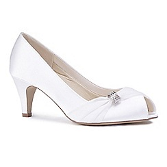 Pink by Paradox London - Ivory satin 'Celone' mid heel wide fit peep toe shoes