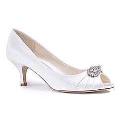 Pink by Paradox London - Ivory satin 'Charlene' mid heel stiletto peep toe shoes