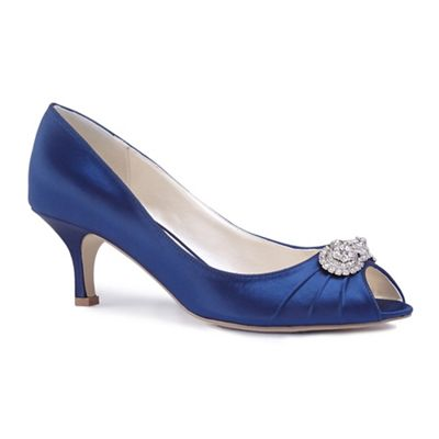 Pink by Paradox London - Blue satin 'Charlene' mid heel stiletto peep toe shoes