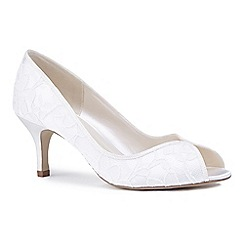 Pink by Paradox London - Ivory lace 'Christabel' mid heel stiletto peep toe shoes