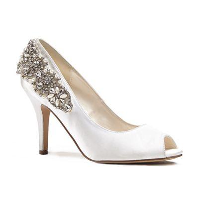 Pink by Paradox London - Ivory satin 'Cynthia' high heel stiletto peep toe shoes