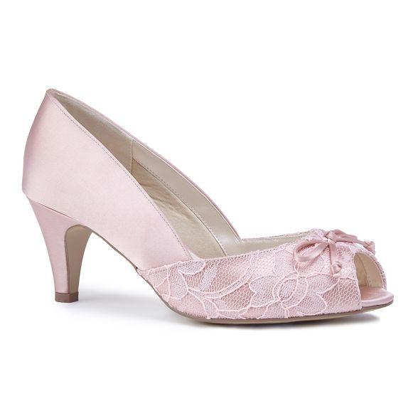 heel mid wide EEE shoes Pink London toe 'Dariela' satin Paradox peep by Blush extra fit fzqwHY0R