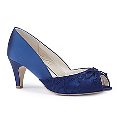 Pink by Paradox London - Navy satin 'Dariela' mid heel extra wide EEE fit peep toe shoes