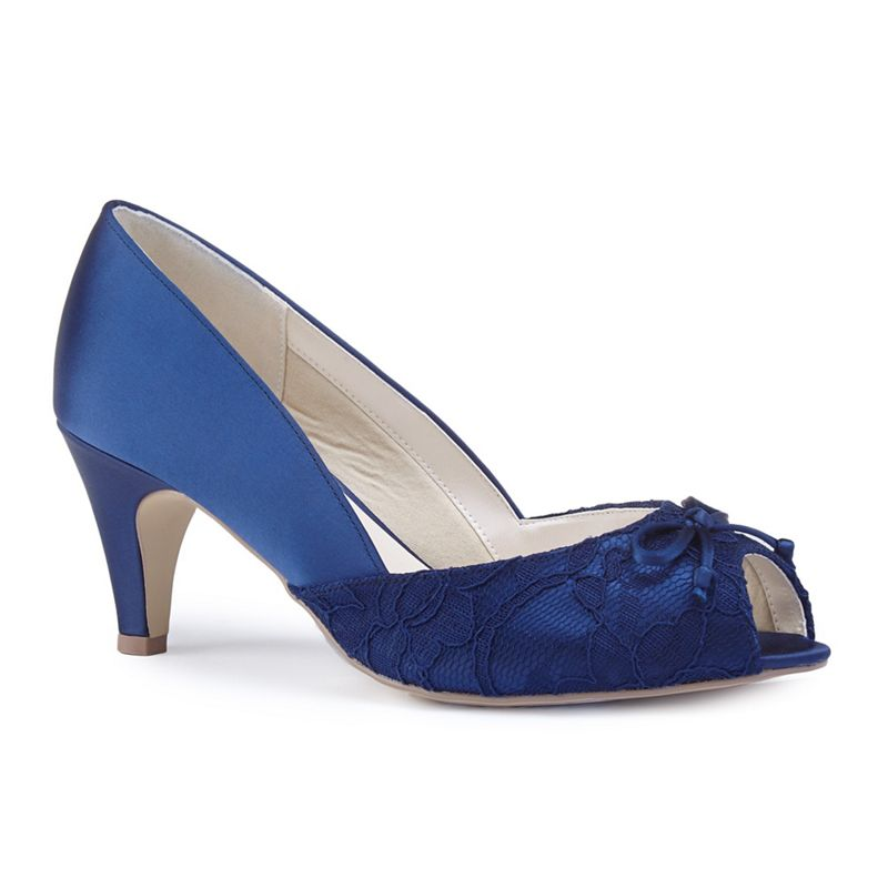 Pink by Paradox London - Navy Satin Dariela Mid Heel Extra Wide Eee Fit Peep Toe Shoes