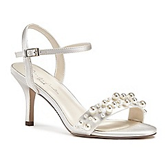 Pink by Paradox London - Ivory satin 'Juliana' mid heel stiletto ankle strap sandals