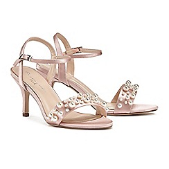 Pink by Paradox London - Pink satin 'Juliana' mid heel stiletto ankle strap sandals