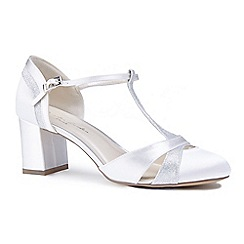 Pink by Paradox London - Ivory satin ' Conchita' mid heel block t-bar court shoes