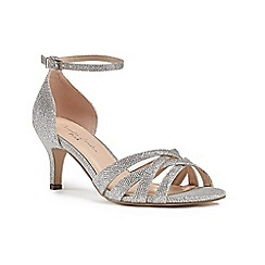 Pink by Paradox London - Silver glitter 'Malika' mid heel stiletto ankle strap sandals