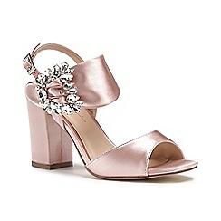 Pink by Paradox London - Pink satin ' Manhattan' high heel block ankle strap sandals