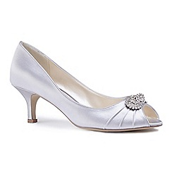 Pink by Paradox London - Silver satin 'Charlene' mid heel stiletto peep toe shoes