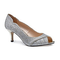 Pink by Paradox London - Gold glitter 'Carey' mid heel stiletto peep toe shoes