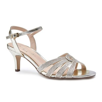 Pink By Paradox London   Gold Glitter 'merle' Mid Heel Stiletto Ankle Strap Sandals by Pink By Paradox London