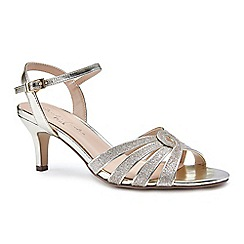 Pink by Paradox London - Gold glitter 'Merle' mid heel stiletto ankle strap sandals