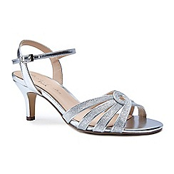 Pink by Paradox London - Silver glitter 'Merle' mid heel stiletto ankle strap sandals