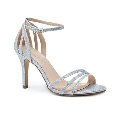 7e8d1f54cf2c Pink by Paradox London - Silver glitter  Melody  high heel stiletto ankle  strap sandals