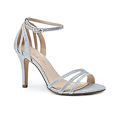 Pink by Paradox London - Silver glitter 'Melody' high heel stiletto ankle strap sandals