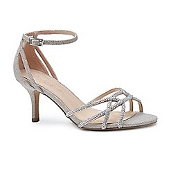 Pink by Paradox London - Gold glitter 'Majesty' mid heel stiletto ankle strap sandals
