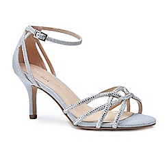 Pink by Paradox London - Silver glitter 'Majesty' mid heel stiletto ankle strap sandals