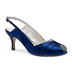 Pink by Paradox London - Blue satin 'Cecilia' mid heel stiletto sling back peep toe shoes