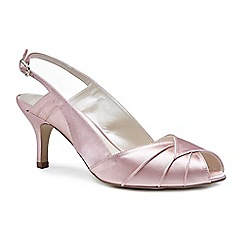 Pink by Paradox London - Pink satin 'Cecilia' mid heel stiletto sling back peep toe shoes