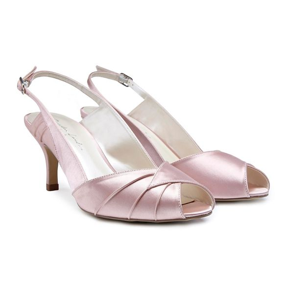 satin back London mid Paradox toe Pink Pink shoes peep sling 'Cecilia' stiletto heel by xISnR