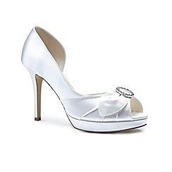 Pink by Paradox London - Ivory Ivory satin 'Carista' high heel platform peep toe shoes
