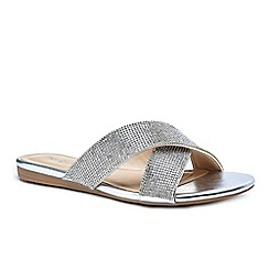 Pink by Paradox London - Silver diamante 'Natasha' flat corss strap sandals