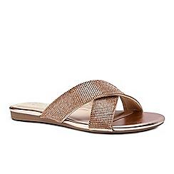 Pink by Paradox London - Gold diamante 'Natasha' flat corss strap sandals