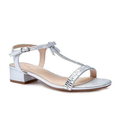 347e9c7bbe2f3b Pink by Paradox London Silver glitter  Nala  mid heels t-bar sandals ...