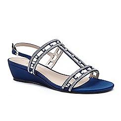 Pink by Paradox London - Blue satin 'Kamara' mid heel wedge sandals