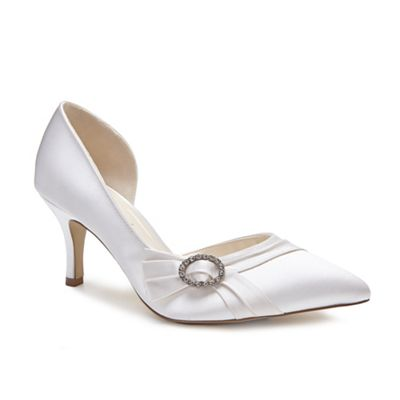 Pink by Paradox London - Ivory Satin 'Contessa' mid heel stiletto heel court shoes