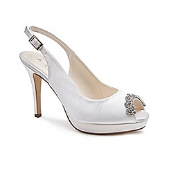 Pink by Paradox London - Ivory Satin 'Paloma' high heel platform peep toe shoes
