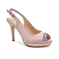Pink by Paradox London - Pink Satin 'Paloma' high heel platform peep toe shoes