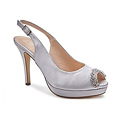 Pink by Paradox London - Grey Satin 'Paloma' high heel platform peep toe shoes