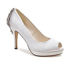 Pink by Paradox London - Ivory Satin 'Pricilla' high heel platform peep toe shoes