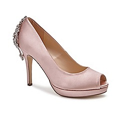 Pink by Paradox London - Pink Satin 'Pricilla' high heel platform peep toe shoes