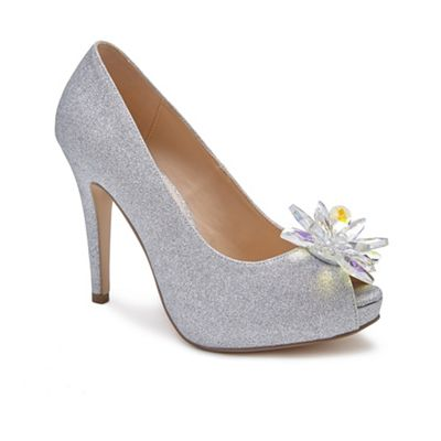 Pink by Paradox London - Silver 'Savannah' high heel platform peep toes