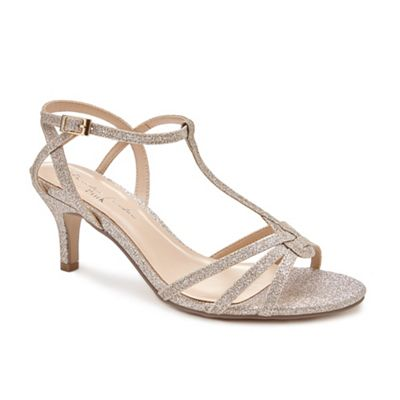 Pink by Paradox London - Gold Glitter 'Lennon' mid heel wide fit sandals