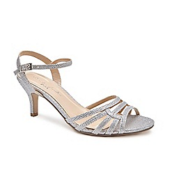 Pink by Paradox London - Silver Glitter 'Laurie' mid heel wide fit sandals