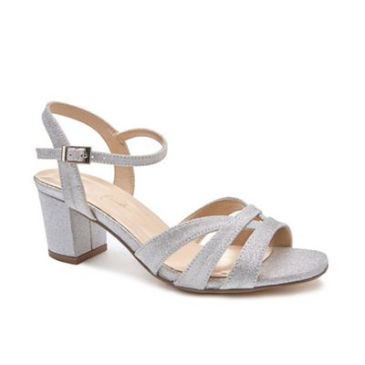Pink by Paradox London - Silver Glitter 'Latifa' mid heel wide fit sandals