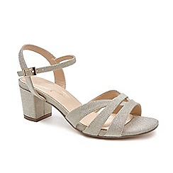 624558e7507 Pink by Paradox London - Gold Glitter  Latifa  mid heel wide fit sandals